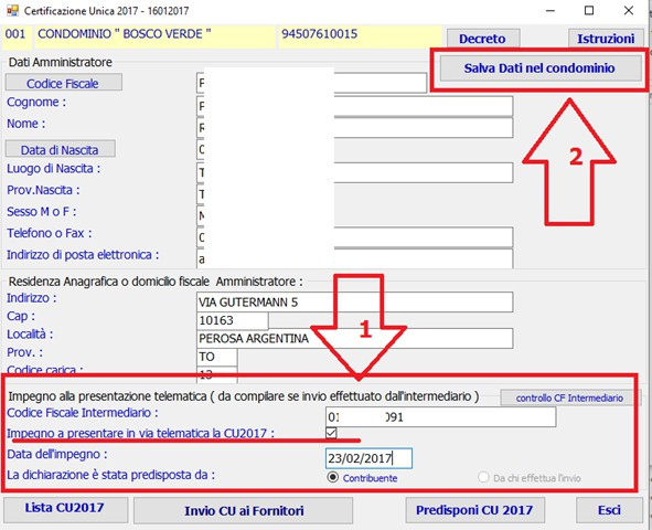 ... In Caso Di Impegno Alla Trasmissione Del File Ad Un Consulente (  Commercialista ) è Necessario CLK Sul Pulsante [Predisponi CU2017] ...